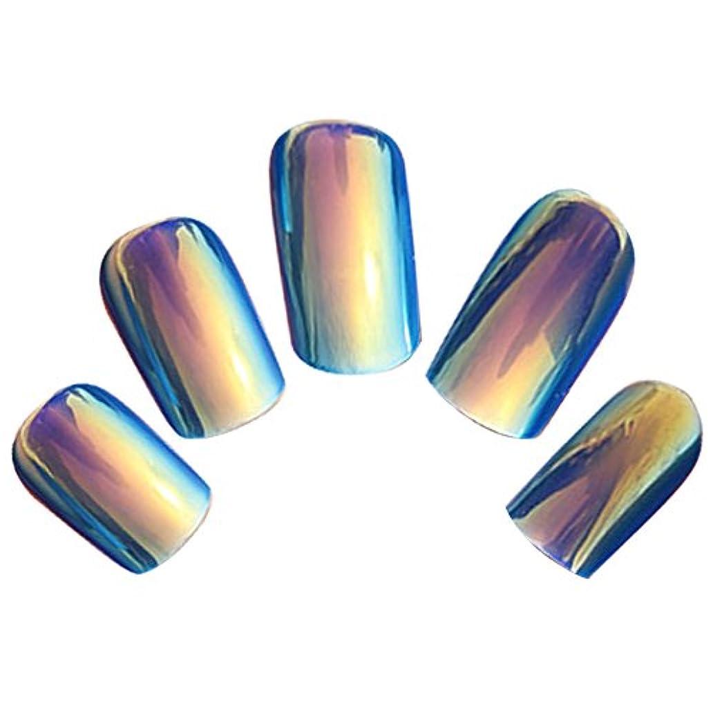 ワーカームス鮫ゴシレ Gosear 24 個 12 サイズ ネイルチップ 人工偽爪のヒント 青色