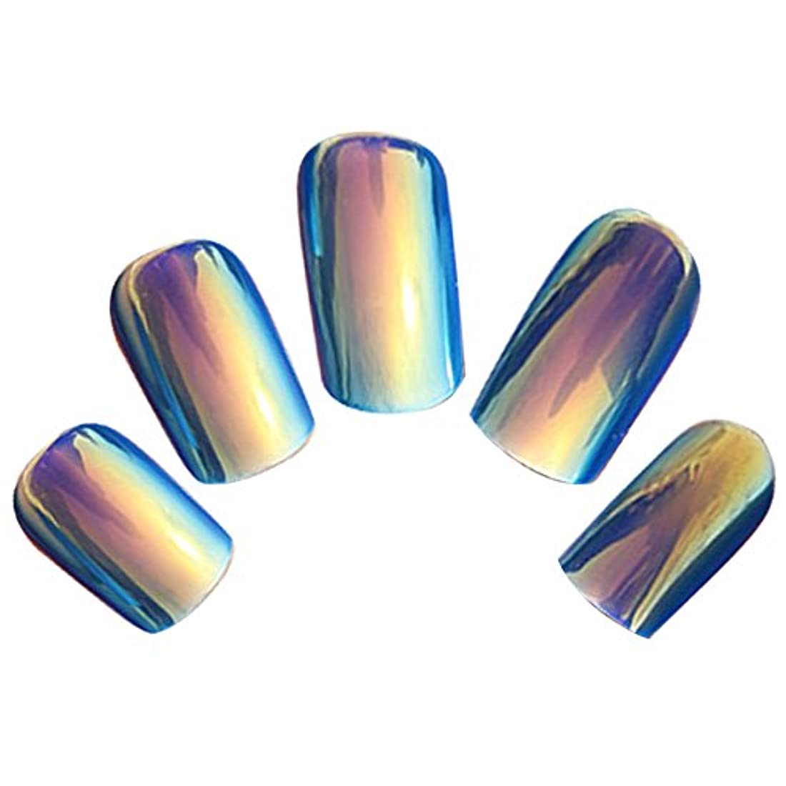 外交官賄賂公爵夫人ゴシレ Gosear 24 個 12 サイズ ネイルチップ 人工偽爪のヒント 青色