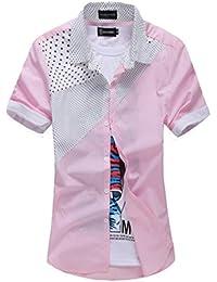 (NAIL39) メンズ 半袖 シャツ 水玉 柄 パッチワーク 襟付き 夏 重ね着 クールビズ サマー 夏服 普段着 馬術用 ジャケット