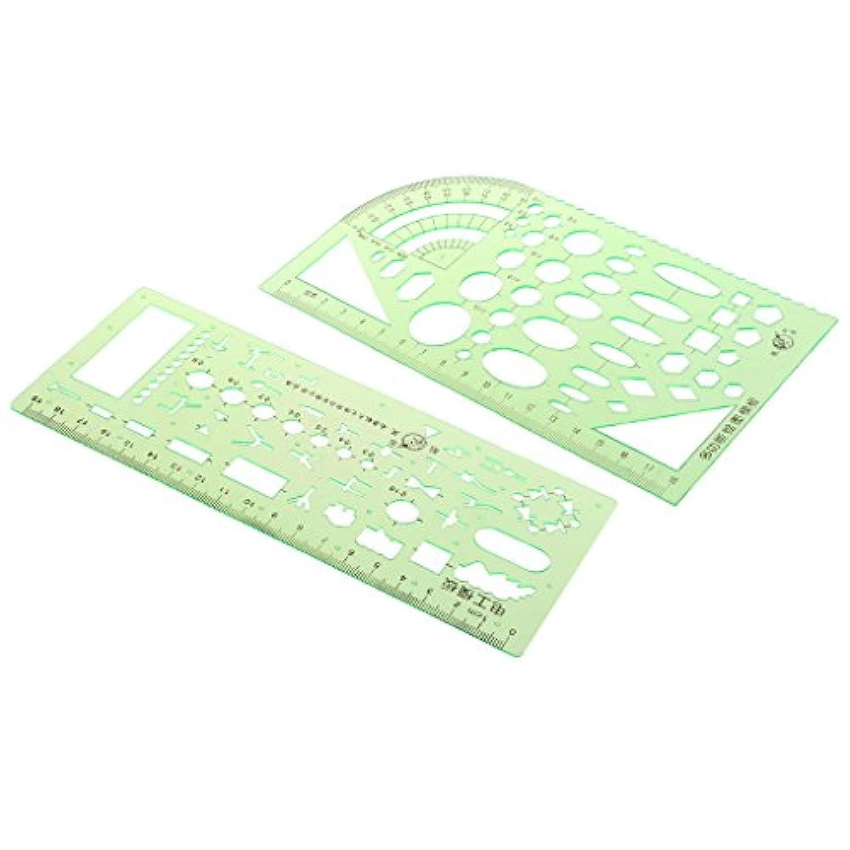 Prettyia テンプレート 幾何学的ルーラー プラスチック製 電気 アート デザイン 2個入り