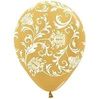 loonballoonダマスクパールゴールドとホワイト印刷( 6 )シャワーウェディングラテックスヘリウムバルーン