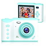 Bright Platinum Kids Camera, 8MP Digital Dual Camera Rechargeable Shockproof Camcorder Camera With 2.8 Inch Touch Screen and 32GB SD Card, Ideal Toy for 3-12 Years Old Boys Girls Birthday Gift (Green)