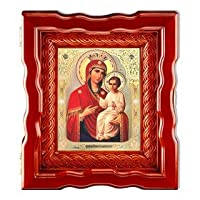 ロシアンアイコン 聖母マリア すぐに聞ける マドンナと子どものアイコン 木製ボックス入り ガラス付き オープンアップドア 10インチ