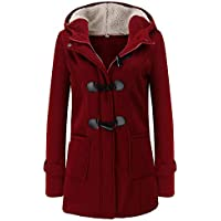 ZEVONDA Winter Hood Coats for Women - Vintage Casual Outdoor Outerwear Long Warm Lined Zip Up Solid Plus Size Jacket Coat with Pockets