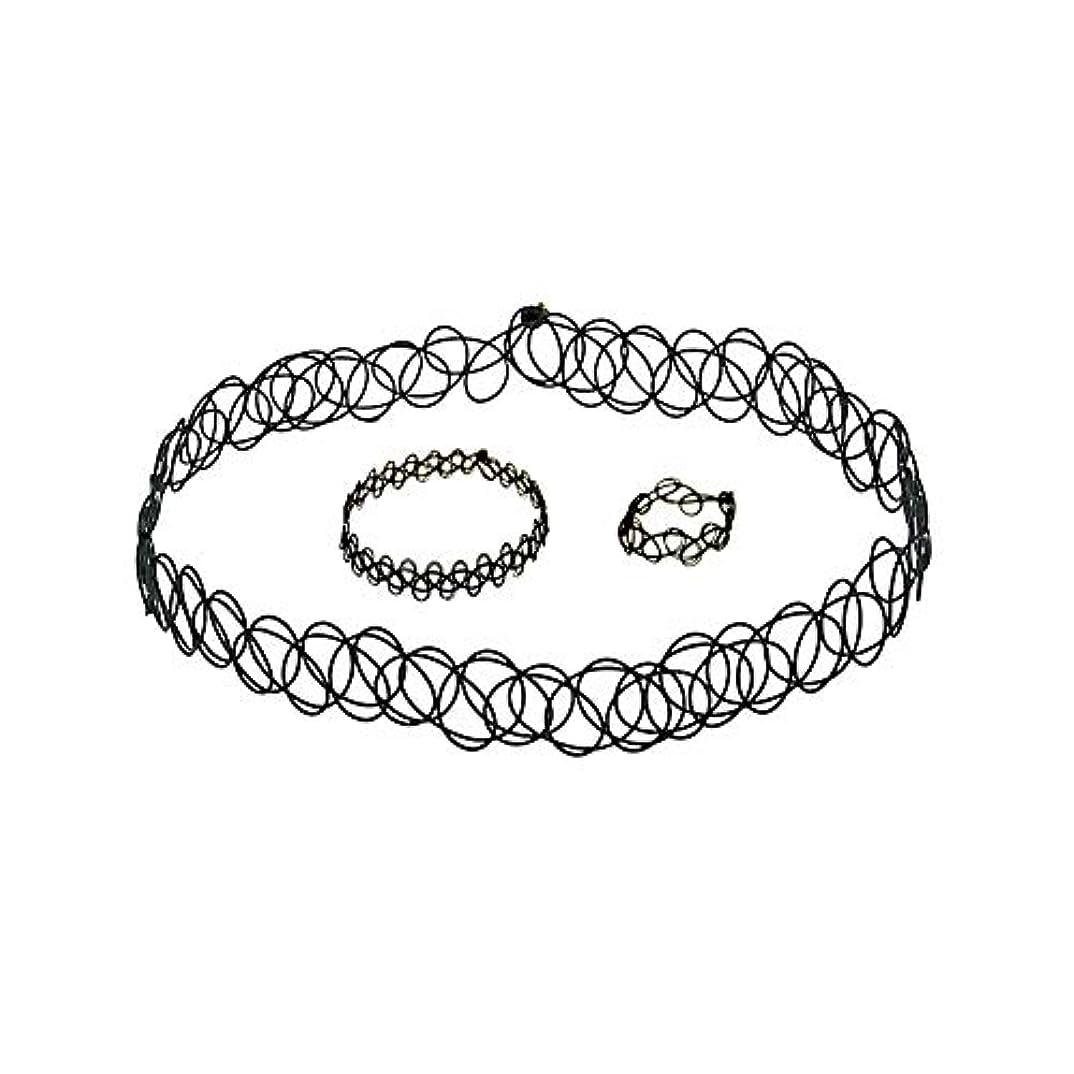 雷雨結婚式最初は3 PCSタトゥーチョーカーゴシックタトゥーヘナセット伸縮ネックレスブレスレットと指輪女性の女の子
