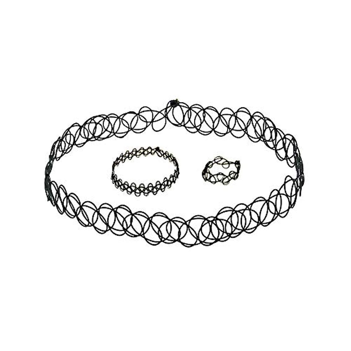 柔らかい足肝嬉しいです3 PCSタトゥーチョーカーゴシックタトゥーヘナセット伸縮ネックレスブレスレットと指輪女性の女の子