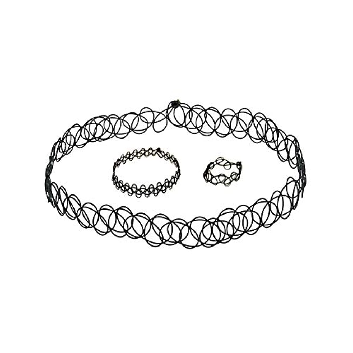 故国不器用検出可能3 PCSタトゥーチョーカーゴシックタトゥーヘナセット伸縮ネックレスブレスレットと指輪女性の女の子