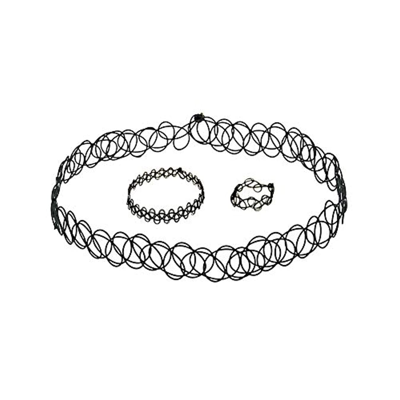 なくなるチップ予報3 PCSタトゥーチョーカーゴシックタトゥーヘナセット伸縮ネックレスブレスレットと指輪女性の女の子