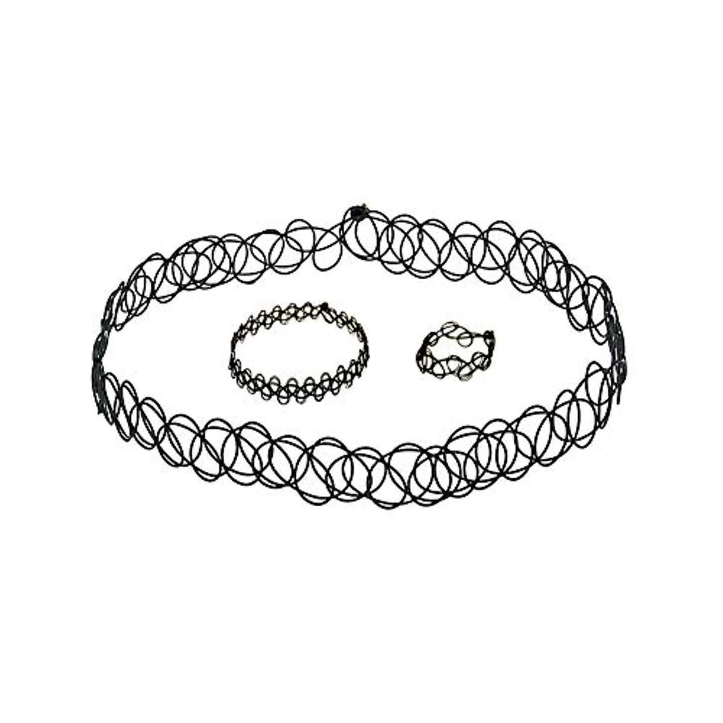 理論的上げるシンボル3 PCSタトゥーチョーカーゴシックタトゥーヘナセット伸縮ネックレスブレスレットと指輪女性の女の子