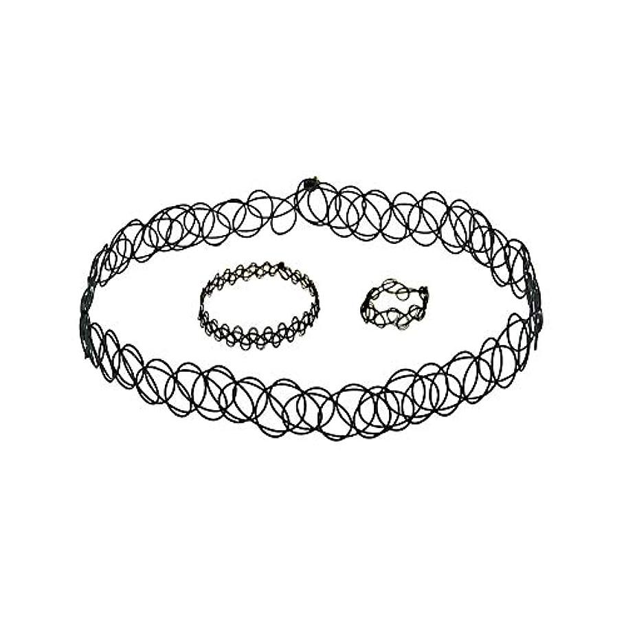 湿ったペック悲しいことに3 PCSタトゥーチョーカーゴシックタトゥーヘナセット伸縮ネックレスブレスレットと指輪女性の女の子