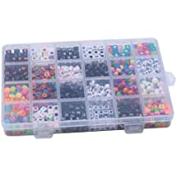 F Fityle 1130/box Square Acrylic Beads Multicolor Loose Number Letters DIY Kids Findings