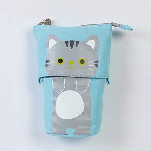 [ MT On&Do ] ペンケース 筆箱 ペン入れ ネコ 猫好き 伸び縮み 伸縮 収納 小物 化粧 かわいい 癒し マニア 立つ 自立 (ブルー)