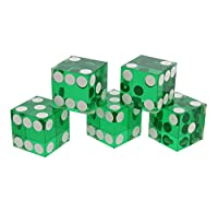 Get Out! Precision Casino Dice 6-Sided 19mm Game Playing Dice, Translucent Green, Set of 5 for Craps, DnD D&D, RPG, D6