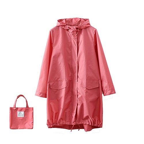 (ハイハート)Hiheart 軽量 レインコート レディース トレンチコート おしゃれ 女性用 雨具 撥水加工 収納袋付き ピンク