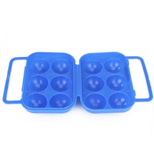 エッグキャリアホルダー,SODIAL(R)ポータブルな折りたたみプラスチック製エッグキャリアホルダー収納コンテナ 6個エッグの為 - 青