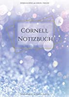 Cornell Notizbuch: blanko Notebook im DIN A4 Format mit schickem Design:  blau lila Violet Glitter Druck   fuer die Cornell-Methode