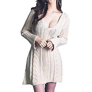 [アイラカリラ] レディース セクシー ワンピース 胸元 ニット 長袖 Vネック 谷間 かわいい セーター パーティ キャバ 嬢 ドレス レディース 31AA カーラ (アプリコット)