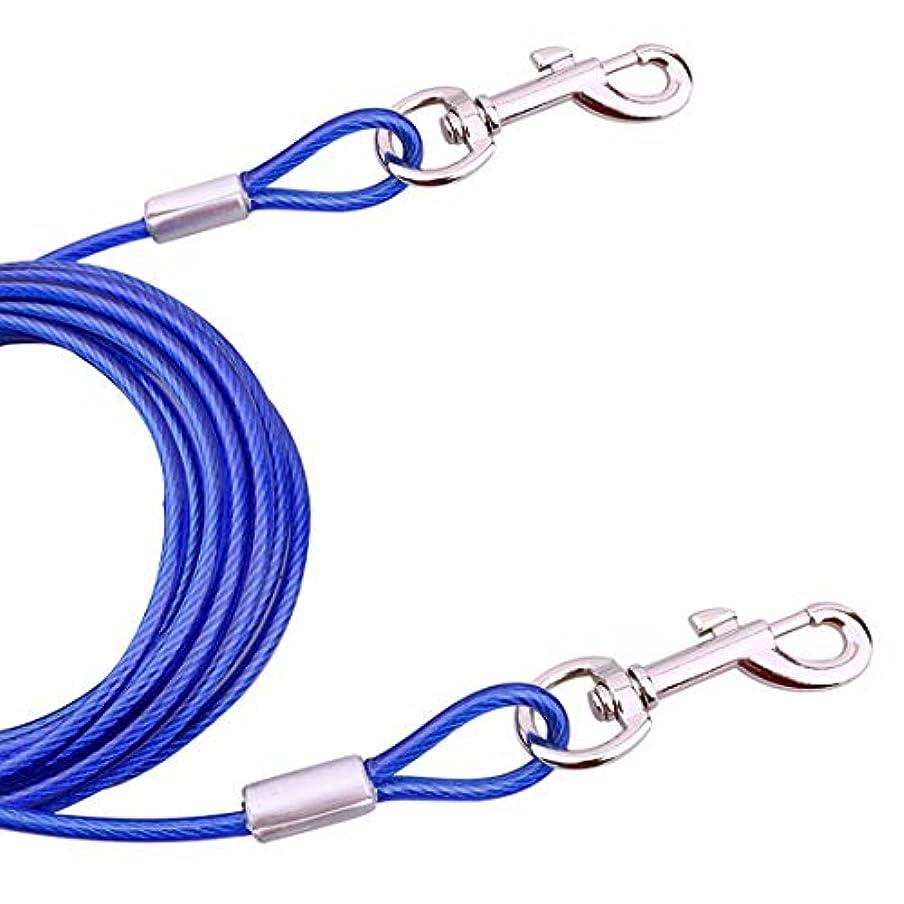 誠実さ暫定ゲートKANEED ペットハーネス 中小型犬 猫 散歩 お出かけ用 ダブルエンド·スチール·ワイヤー·ロープ·ペット犬2牽引ロープ·ペット犬の歩行リード、長さ:5m、ランダムカラーデリバリー
