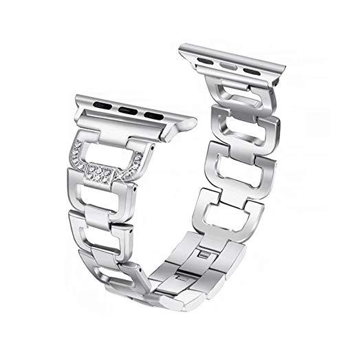 アップルウォッチバンド Wollpo® Apple Watch バンド 金属 ベルト (ステンレス チェーン, 銀色38mm)