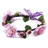 女性の花のクラウンヘアバンド結婚式の花のヘッドバンドガーランドリボンボウガール花の花輪弾性ヘアAccessorie、スタイル8