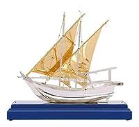 GYHS HJAZヨットモデル、金属工芸品、合金/純木、ホーム&オフィス装飾、卓上パーティー結婚式キッチンオフィスセンターピースDecoration.11インチ。ゴールデン。 (Edition : Blue base)
