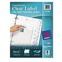 Averyインデックスメーカー印刷&適用クリアラベルプラスチックディバイダー、8-tab、文字