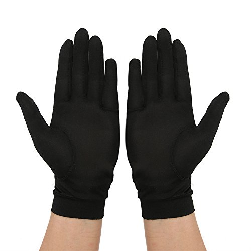 Tenn Well シルク手袋, 天然絹100% 手荒れ対策 保湿ケア UVカット おやすみ手袋 (ブラック)