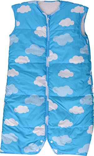 エムール スリーパー 羽毛ダウンスリーパー 軽くてポカポカ 洗える ロング丈 【Mサイズ 約45×80cm】 (雲柄ブルー)