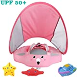 Upgrade 3rd Generation Baby Infant Soft Solid Non-Inflatable Float Lying Swimming Ring Children Waist Float Ring Floats Pool Toys Swim Trainer Classic Sunshade Swim Ring with Sun Canopy (Pink C)