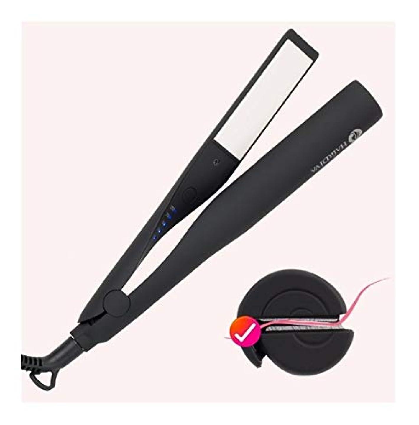 サワー雪だるまを作る家族CQQ プロフェッショナル電気矯正アイアン&1つのストレートヘアアイロンフラットアイアンセラミックスタイリングツールアイアンPROスタイリングヘアツールカーリング鉄の毛のストレートヘアの杖でCurlingIron髪カーラー2 (Color : Black)