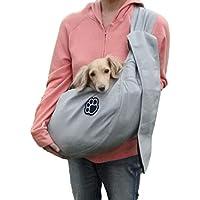 ドッグスリング ペットスリング バッグ 犬 抱っこ紐 小型犬 中型犬 メッシュ 10kg リング 耐久性 ペット スリング ペットバッグ(長さ調整可能) (グレー)