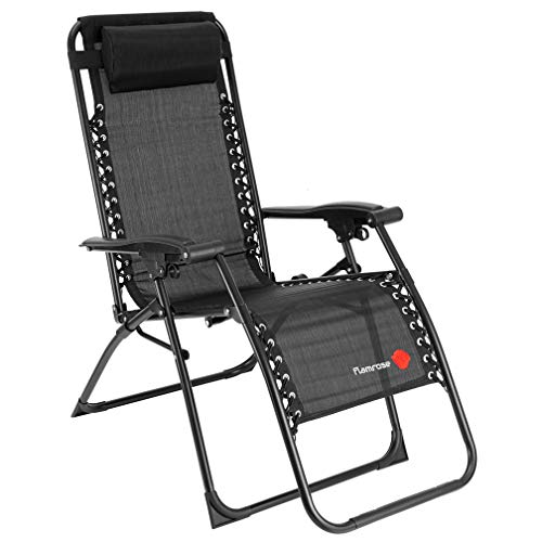 FLAMROSE 【無重力チェア】 リビングルーム家具 キャンプ椅子 - 折りたたみ マルチポジションチェア 耐荷重120kg テスリンチェア (ブラック)