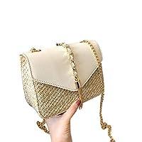 TOOGOO 女性のためのフリンジチェーンスモールフラップバッグわらクロスボディバッグレディースサマーメッセンジャーショルダーハンドバッグと財布、ホワイト