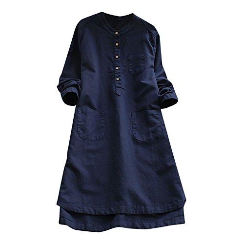 LZE大きなサイズ 無地 綿とリネン ボタン ドレス きれい...