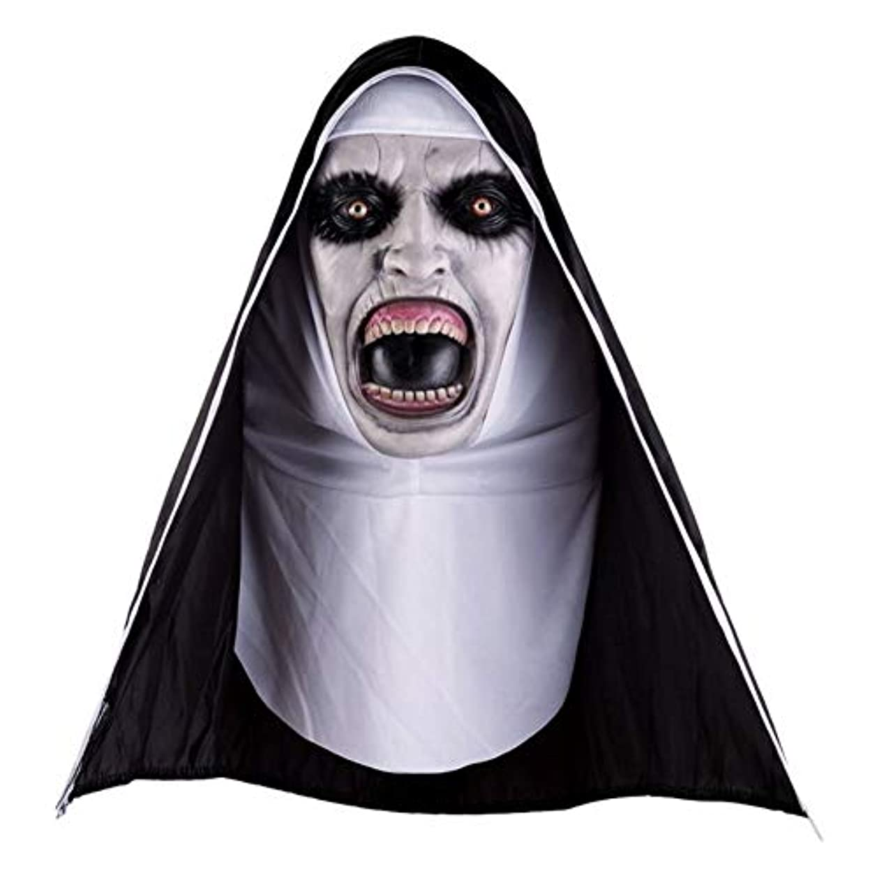 減衰瀬戸際寺院Esolom ハロウィーンの怖いマスク ラテックス修道女マスク フルフェイスカバレッジ フード付き 大人と子供のロールプレイング いたずら小道具