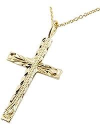 [アトラス] Atrus メンズ ハワイアン クロス ネックレス 十字架 ミル 地金 イエローゴールドK18 サービスチェーン(シルバー925)