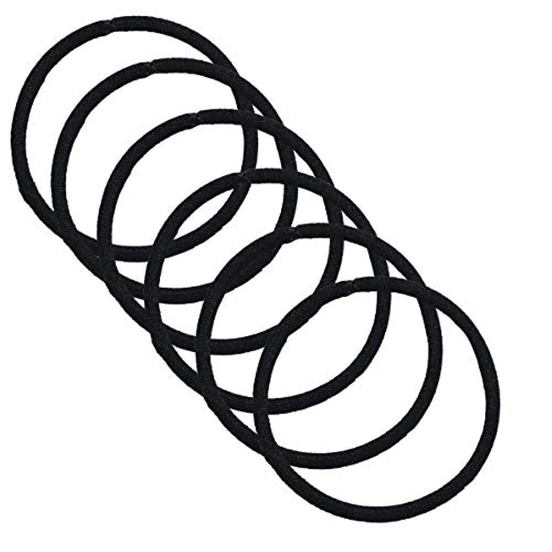 ソーシャル反発スタッククラン ヘアゴム リングゴム 結び目の無い内径 4.8cm 太さ3mm 高品質ゴム仕様 (ナイトブラック 黒色 6点)