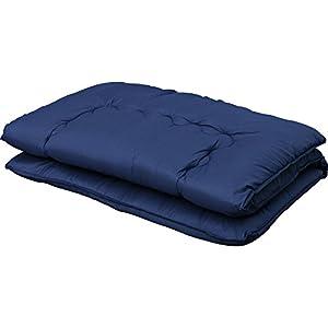 敷布団 3層 軽量固綿入り 洗える 低ホルムアルデヒド 幅100×奥行210cm シングル ネイビー