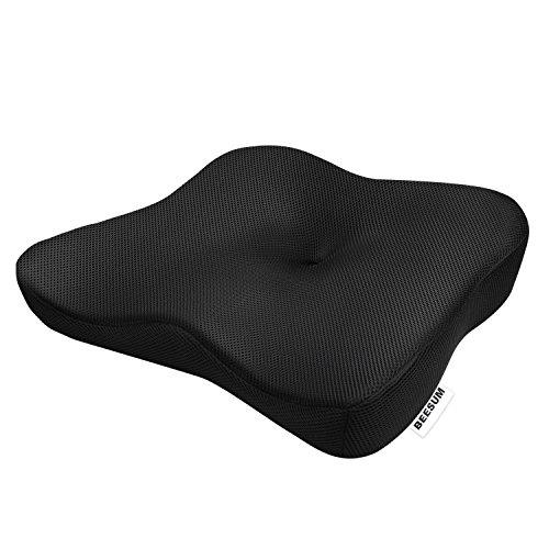 BEESUM ヘルスケア 座布団 低反発 クッション 腰楽クッション 椅子や車に 運転クッション 姿勢矯正 シートクッション 体圧分散 骨盤サポート「腰・尾骨・坐骨神経痛を軽減 」健康クッション 座り心地抜群