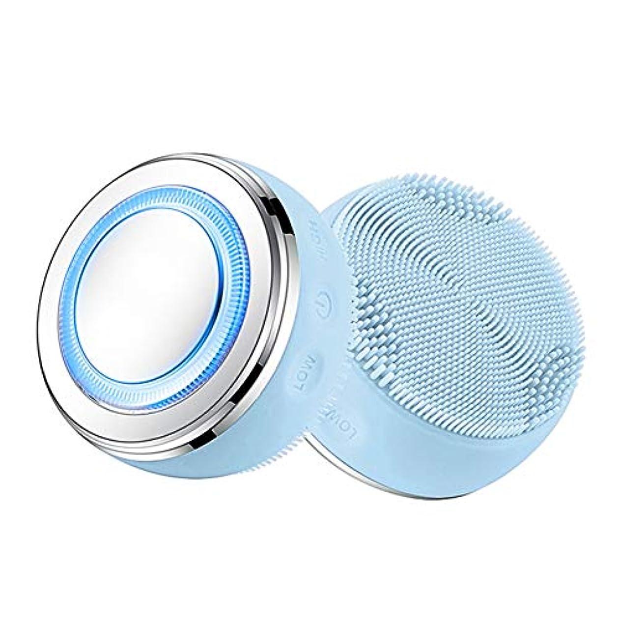 テーブル反対するストラップ2-IN-1クレンジングブラシ、ホットプレスLEDスキンクリーナー、防水シリコーン毛穴クリーナー美顔器