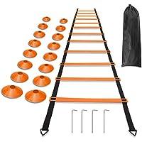 runacc Agility Ladders 19.7Ft / 12横線耐久性スポーツ練習でスピードトレーニングラダーサッカー、フットボール調節可能な練習ツールwith Bonus Carryバッグ