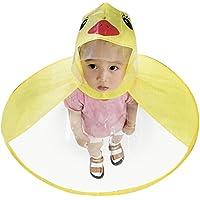 inverlee Cartoon Duck UFOレインコート傘帽子Hands Freeレインコートフード付きポンチョマント付for Kids子 M