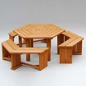 山善(YAMAZEN) ガーデンマスター パティオテーブル&ベンチ(4点セット) HXT-135B