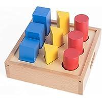 新しい到着Montessori材質数学玩具ジオメトリピラージオメトリソリッドラダーボックス円正方形三角形早期教育