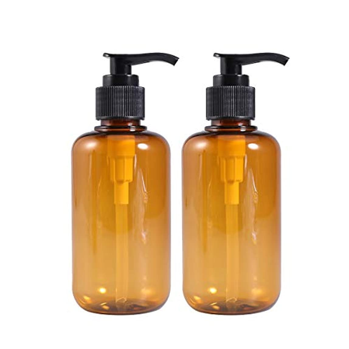 冒険浴室国家Frcolor ポンプ瓶 ポンプボトル 200ml 遮光瓶 ドロップポンプ 詰め替えボトル シャンプーハンドソープ 茶色 PET製 2本セット