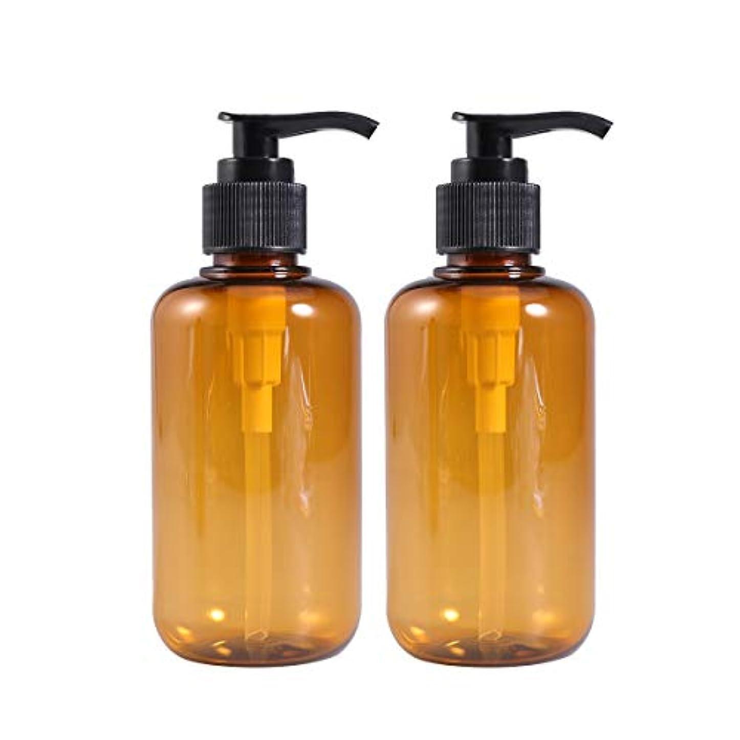 Frcolor ポンプ瓶 ポンプボトル 200ml 遮光瓶 ドロップポンプ 詰め替えボトル シャンプーハンドソープ 茶色 PET製 2本セット