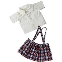 SONONIA 白  シャツ &  ショルダーストラップ  ミニ  スカート  セット  18インチ アメリカンガールドール適用
