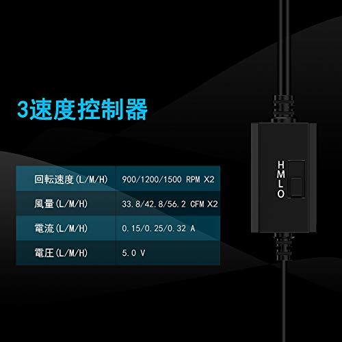 『ELUTENG USB ファン 12cm 2連 静音 3段階風量調節 冷却クーラー 小型 USB 扇風機 PC 冷却ファン ボールベアリングモータ採用 5V 長寿命 ダブル 送風機 薄型 120mm 1500RPM× 2 水槽/ルーター/PS4/PS3/PS2/Xbox 対応 クーラー USB FAN』の1枚目の画像