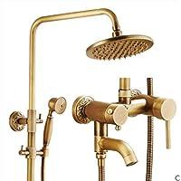 ヴィンテージLuxury Bath部屋雨シャワーミキサーコンボセットすべてブロンズ雨シャワーシャワー雨シャワーシステム+ハンドシャワーシャワースプレーシャワーヘッド雨停止
