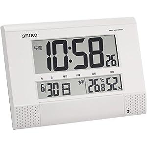 セイコー クロック 掛け時計 置き時計 兼用 電波 デジタル プログラム機能 カレンダー 六曜 温度 湿度 表示 コンパクト 白 パール SQ435W SEIKO